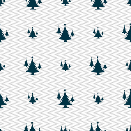 coniferous: coniferous forest, tree, fir-tree icon sign. Seamless pattern with geometric texture. illustration Stock Photo
