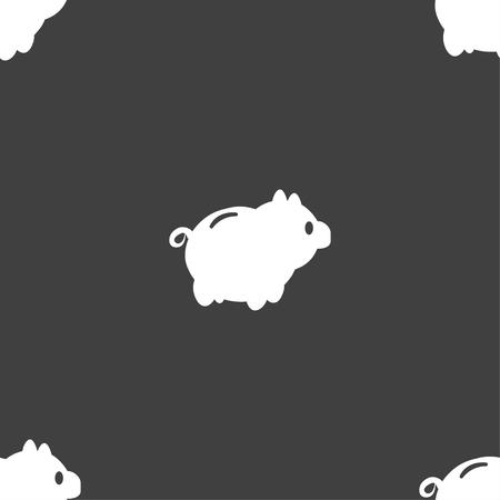 dolar: Piggy signo icono de banco. patrón transparente sobre un fondo gris. ilustración
