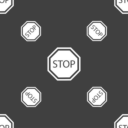 slow down: Stop icon sign. Seamless pattern on a gray background. illustration