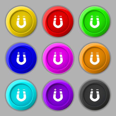 magnetismo: im�n de herradura, el magnetismo, magnetizar, atracci�n icono de la muestra. s�mbolo de botones coloridos y nueve redondos. ilustraci�n Foto de archivo