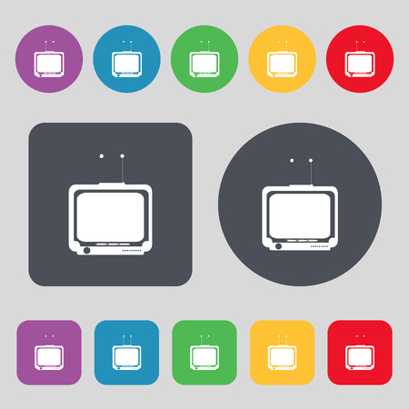tvset: TV icon sign. A set of 12 colored buttons. Flat design. illustration