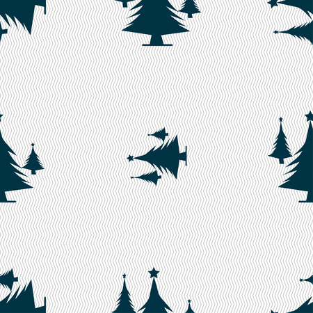 coniferous forest: coniferous forest, tree, fir-tree icon sign. Seamless pattern with geometric texture. illustration Foto de archivo