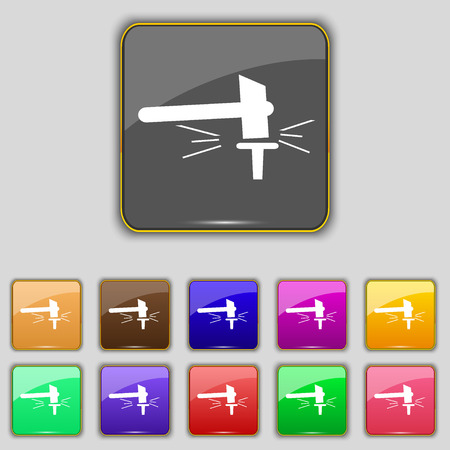 impact tool: The smithy. Forge and stithy, blacksmith icon sign. Set with eleven colored buttons for your site. illustration