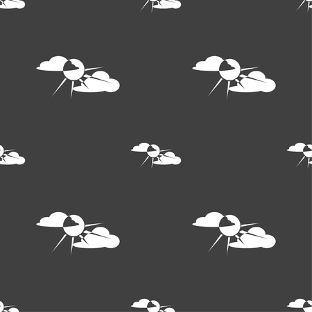 behind: sun behind cloud icon sign. Seamless pattern on a gray background. illustration