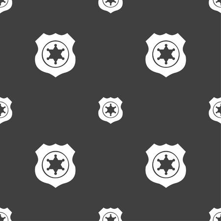 deputy: Sheriff, star icon sign. Seamless pattern on a gray background. illustration Stock Photo