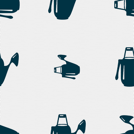 seeding: Watering can icon sign. Seamless pattern with geometric texture. illustration