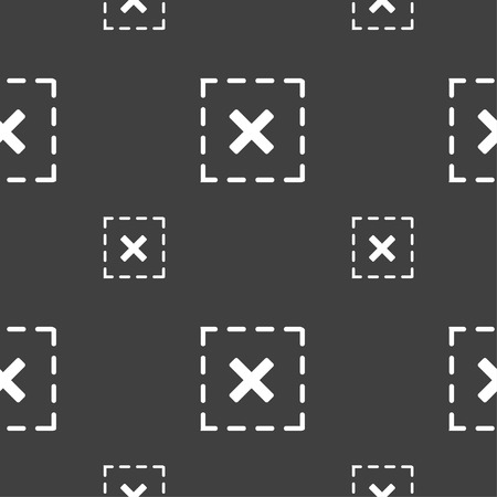 rood: Cross in square icon sign. Seamless pattern on a gray background. illustration