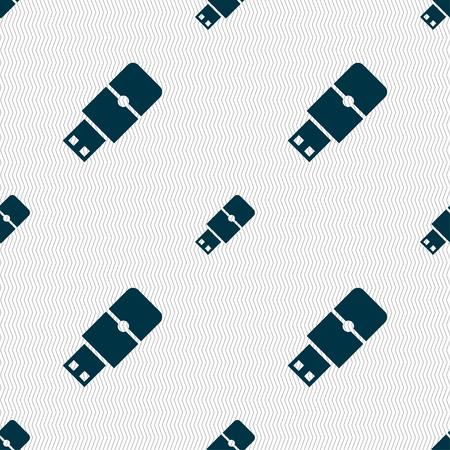 sumbol: USB flash icon sign. Seamless pattern with geometric texture. illustration