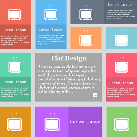 tvset: TV icon sign. Set of multicolored buttons with space for text. illustration Stock Photo
