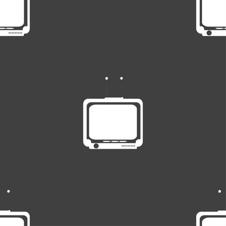 tvset: TV icon sign. Seamless pattern on a gray background. illustration