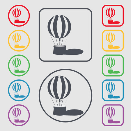 ballooning: Hot air balloon icon sign. symbol on the Round and square buttons with frame. illustration