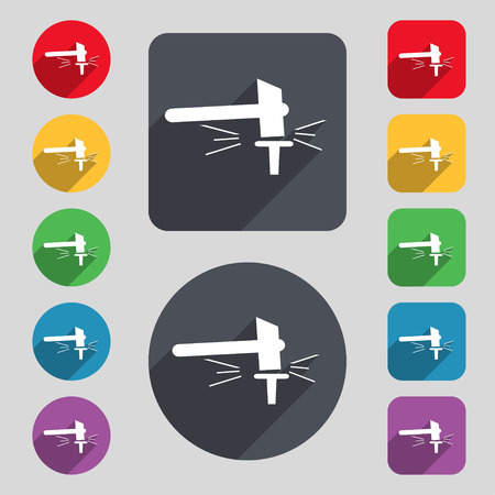 impact tool: The smithy. Forge and stithy, blacksmith icon sign. A set of 12 colored buttons and a long shadow. Flat design. illustration Stock Photo