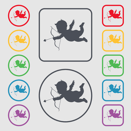 bowstring: Cupid icon sign. symbol on the Round and square buttons with frame. illustration