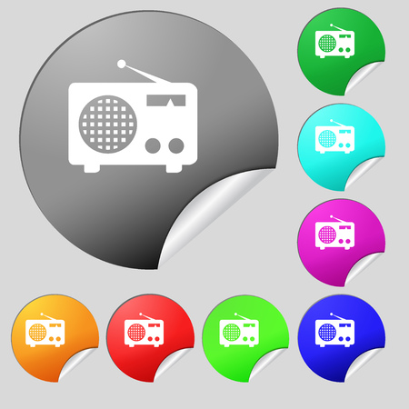 fm: Retro radio icon sign. Set of eight multi colored round buttons, stickers. illustration