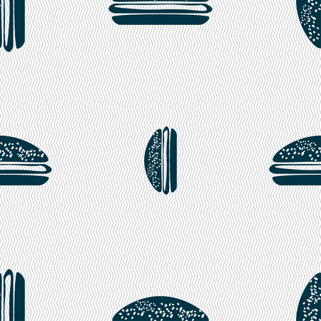 beefburger: Burger, hamburger icon sign. Seamless pattern with geometric texture. illustration