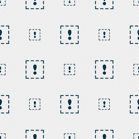 exclamation point: The exclamation point in a square icon sign. Seamless pattern with geometric texture. illustration