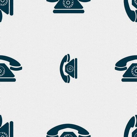 ring tones: Retro telephone icon sign. Seamless pattern with geometric texture. illustration Stock Photo