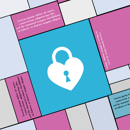 secret codes: Lock in the shape of heart icon sign. Modern flat style for your design. illustration