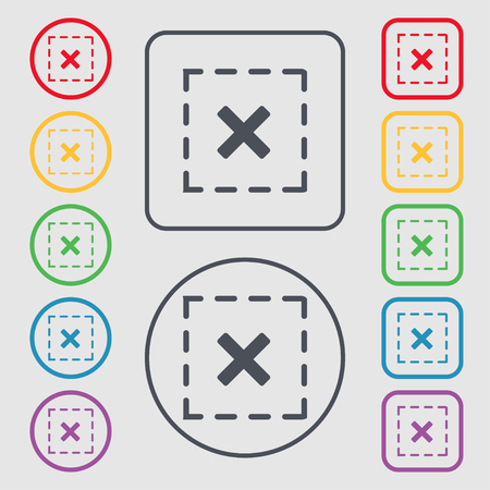 Cross in square icon sign. symbol on the Round and square buttons with frame. illustration