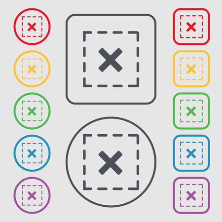 rood: Cross in square icon sign. symbol on the Round and square buttons with frame. illustration