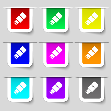 sumbol: USB flash icon sign. Set of multicolored modern labels for your design. illustration Stock Photo