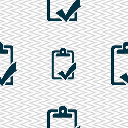 handout: Document grammar control, Test, work complete icon sign. Seamless pattern with geometric texture. illustration Stock Photo