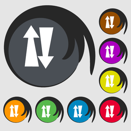 two way: Two way traffic, sign icon. Symbols on eight colored buttons. illustration