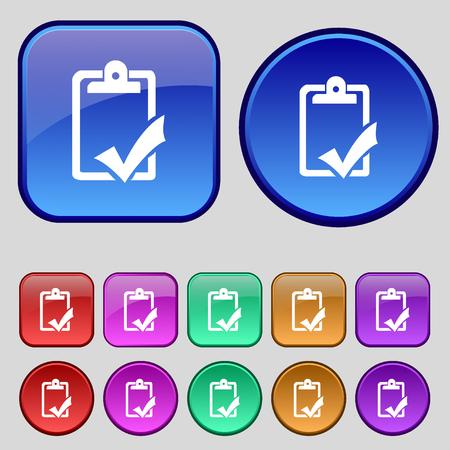 handout: Document grammar control, Test, work complete icon sign. A set of twelve vintage buttons for your design. illustration