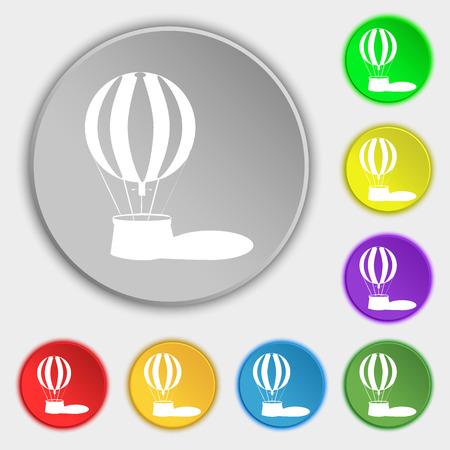 ballooning: Hot air balloon icon sign. Symbol on eight flat buttons. illustration