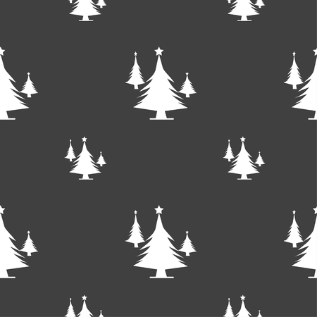 coniferous forest: coniferous forest, tree, fir-tree icon sign. Seamless pattern on a gray background. illustration
