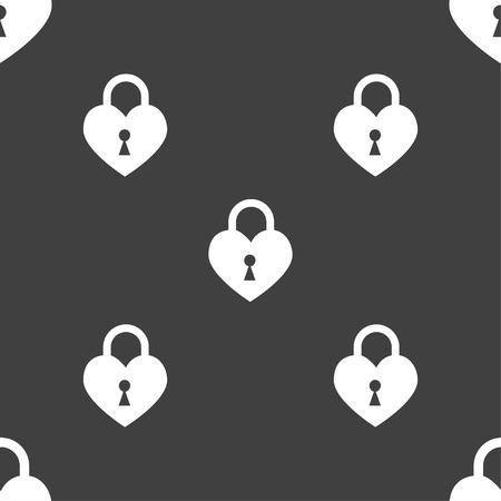 secret codes: Lock in the shape of heart icon sign. Seamless pattern on a gray background. illustration Stock Photo