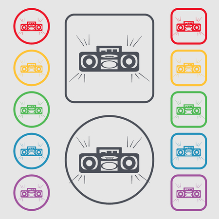 portable audio: Radio cassette player icon sign. symbol on the Round and square buttons with frame. illustration