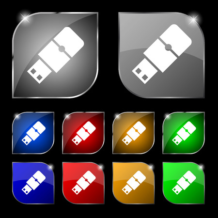 sumbol: USB flash icon sign. Set of ten colorful buttons with glare. illustration