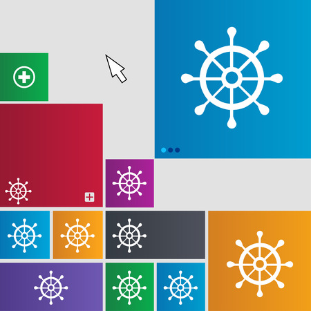 sailing boats: ship helm icon sign. buttons. Modern interface website buttons with cursor pointer. illustration