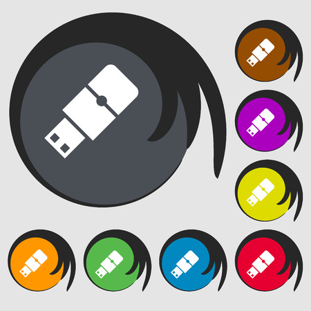 sumbol: USB flash sign icon. Symbols on eight colored buttons. illustration