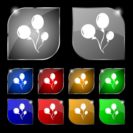 large group of object: Balloons icon sign. Set of ten colorful buttons with glare. illustration Stock Photo