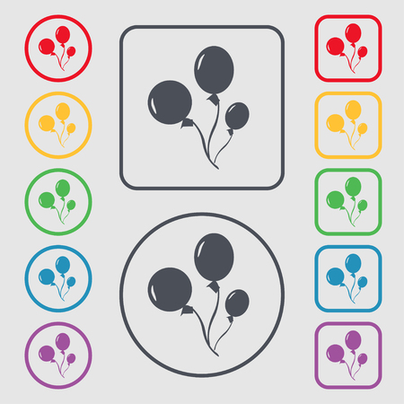 Balloons icon sign. symbol on the Round and square buttons with frame. illustration