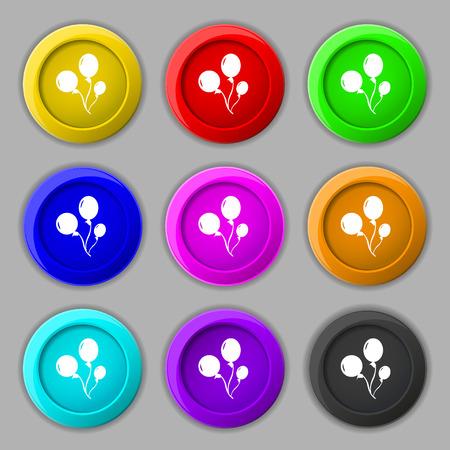 aerostatics: Balloons icon sign. symbol on nine round colourful buttons. illustration