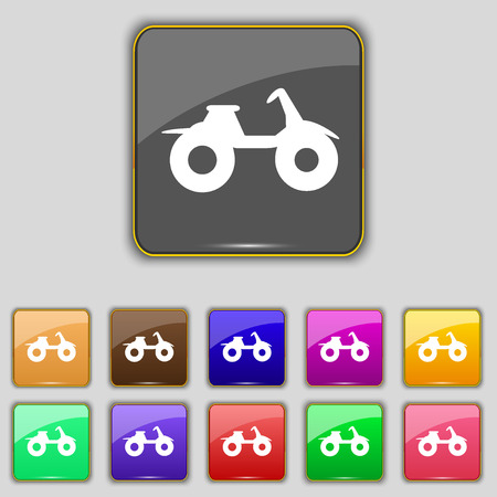 atv: ATV icon sign. Set with eleven colored buttons for your site. illustration