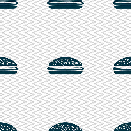beefburger: Burger, hamburger icon sign. Seamless pattern with geometric texture. illustration