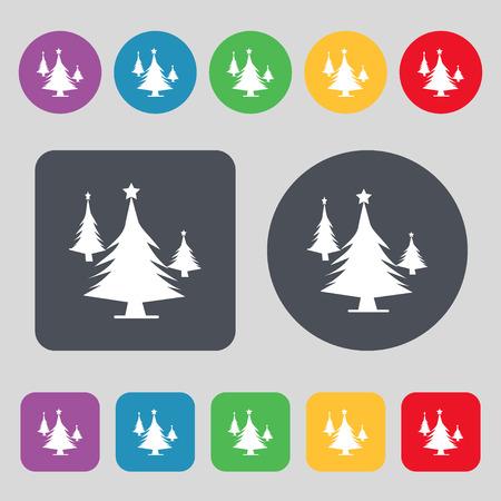 coniferous forest: coniferous forest, tree, fir-tree icon sign. A set of 12 colored buttons. Flat design. illustration Foto de archivo