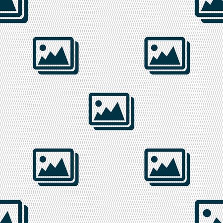 jpeg: images, jpeg, photograph icon sign. Seamless pattern with geometric texture. illustration Stock Photo