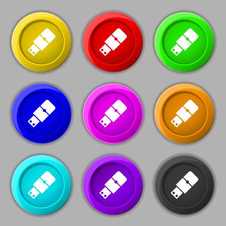 sumbol: USB flash icon sign. symbol on nine round colourful buttons. illustration