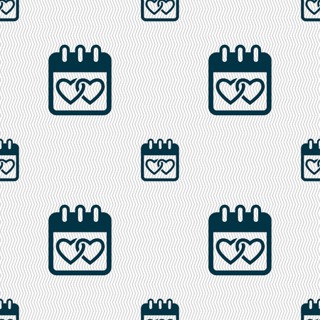 february 14: Calendar, heart, Valentines day, February 14, Love icon sign. Seamless pattern with geometric texture. illustration