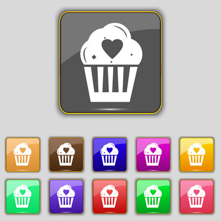 eleven: Cute Lovely Cupcake with Heart icon sign. Set with eleven colored buttons for your site. illustration Stock Photo