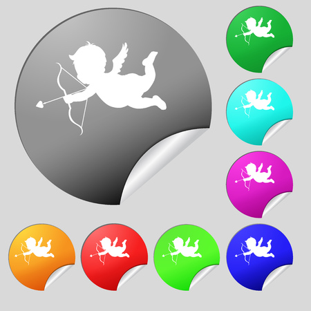 bowstring: Cupid icon sign. Set of eight multi colored round buttons, stickers. illustration Stock Photo