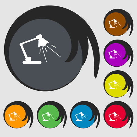 lamplight: Reading-lamp sign icon. Symbols on eight colored buttons. illustration Stock Photo