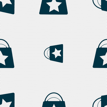 shopping bag icon: Shopping bag icon sign. Seamless pattern with geometric texture. illustration