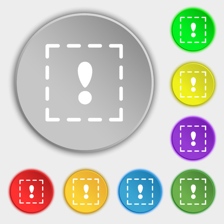 exclamation point: The exclamation point in a square icon sign. Symbol on eight flat buttons. illustration