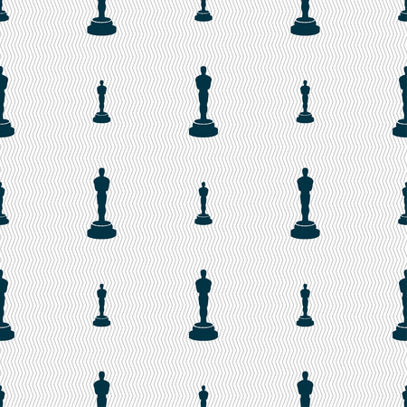 statuette: Oscar statuette icon sign. Seamless pattern with geometric texture. illustration